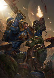 Space Marine vs Ork by ameeeeba