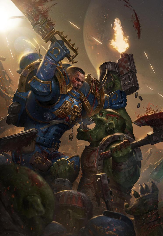 Space Marine vs Ork by ameeeeba