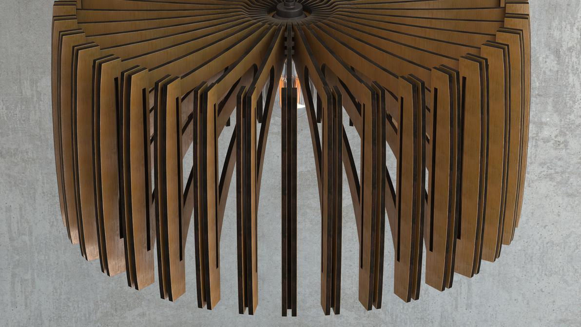 Wood Pendant Chandelier (3d) by Arx-Design