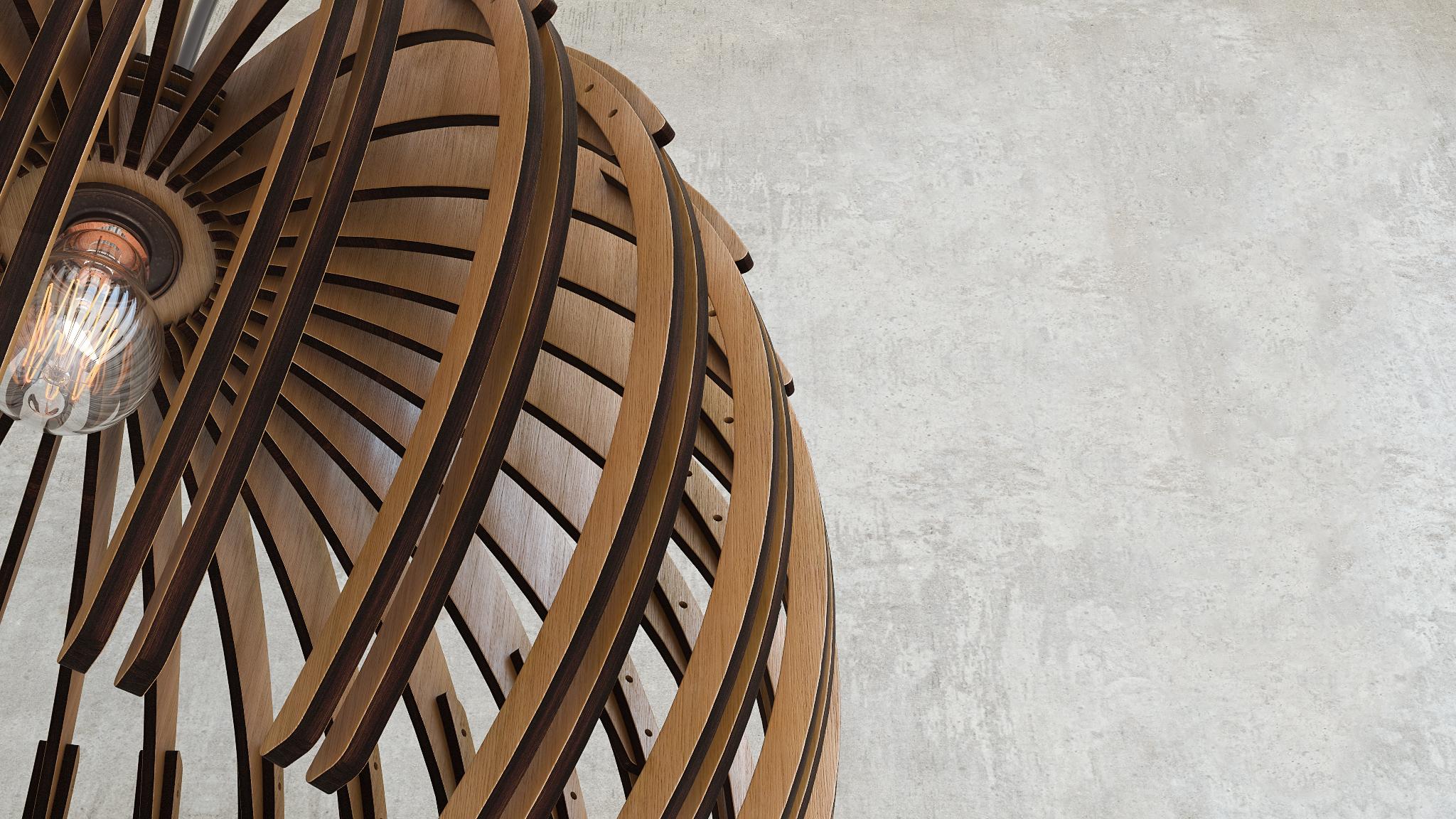 Wood Sphere Chandelier 3d Visualization by Arx Design on DeviantArt