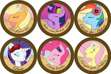 Rude Pony Buttons: Mane 6 by Rainbow-Smashed