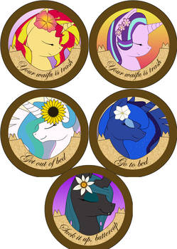 Rude Pony Buttons: Princesses + Misc