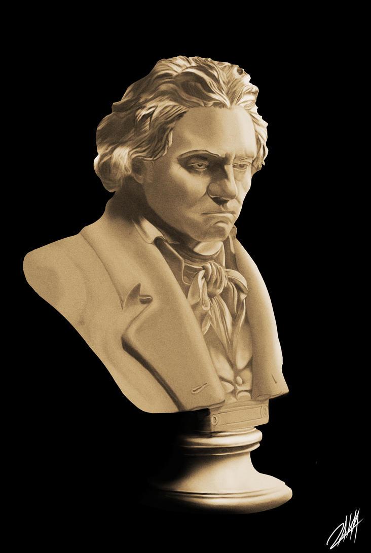 Beethoven Bust Painting by ArloWalker