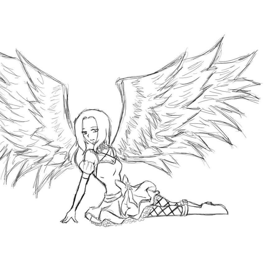 Darkangel sketch by bleikiriya on deviantart for Dark angel coloring pages