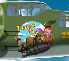 Damsel Fly WW2 Pin-up! by newdeaart