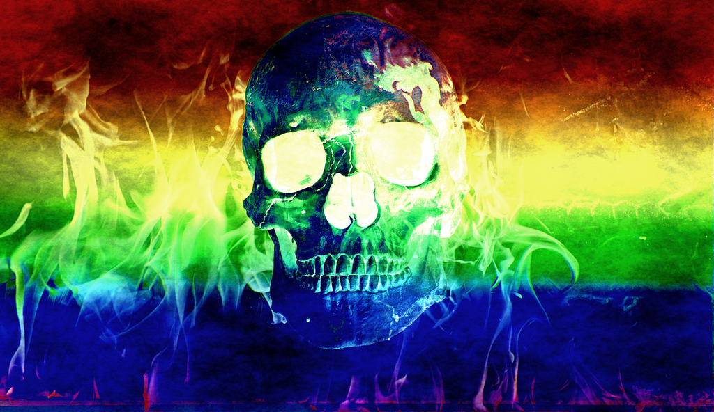 Blueeyeddevil1969 2 1 Gay Pride Flaming Skull Wallpaper 3 By Niedec