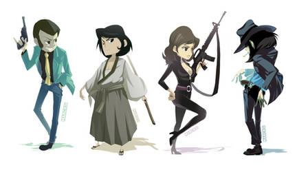 Lupin .Goemon . Fujiko . Jigen by Marcks