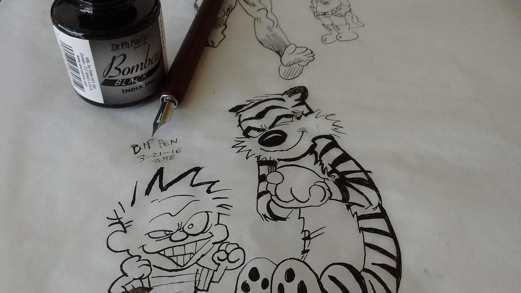 Calvin and Hobbes using Nib Pen