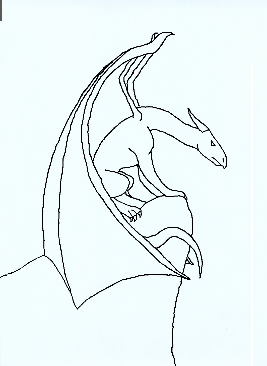 Line Drawing Dragon : Perching dragon line art by arzosah on deviantart