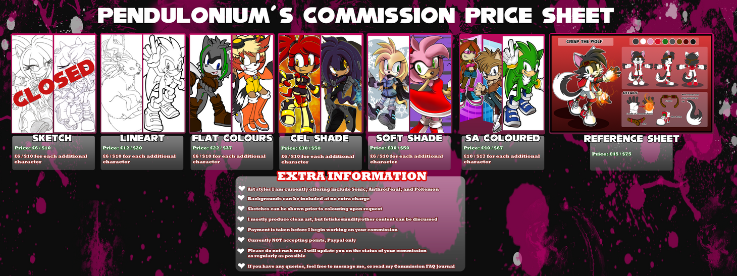 Commission Prices -2 SLOTS OPEN- by Pendulonium