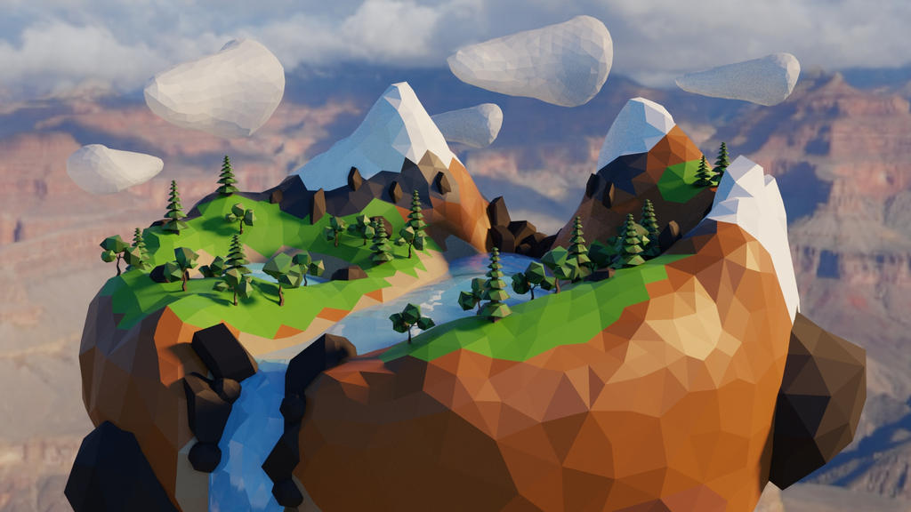Low Poly Island Render Blender Cycles by Willhowl on DeviantArt