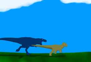 #5T-rex's first hunt by Likosaurus