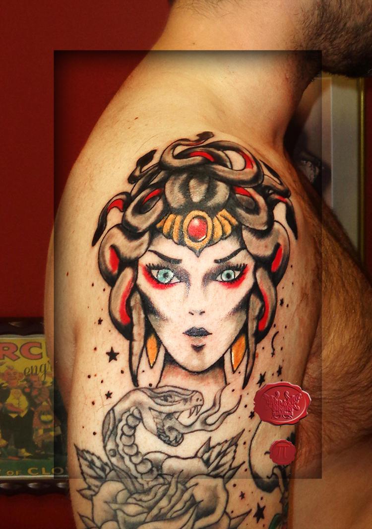 medusa traditional tattoo by loop1974 on deviantart