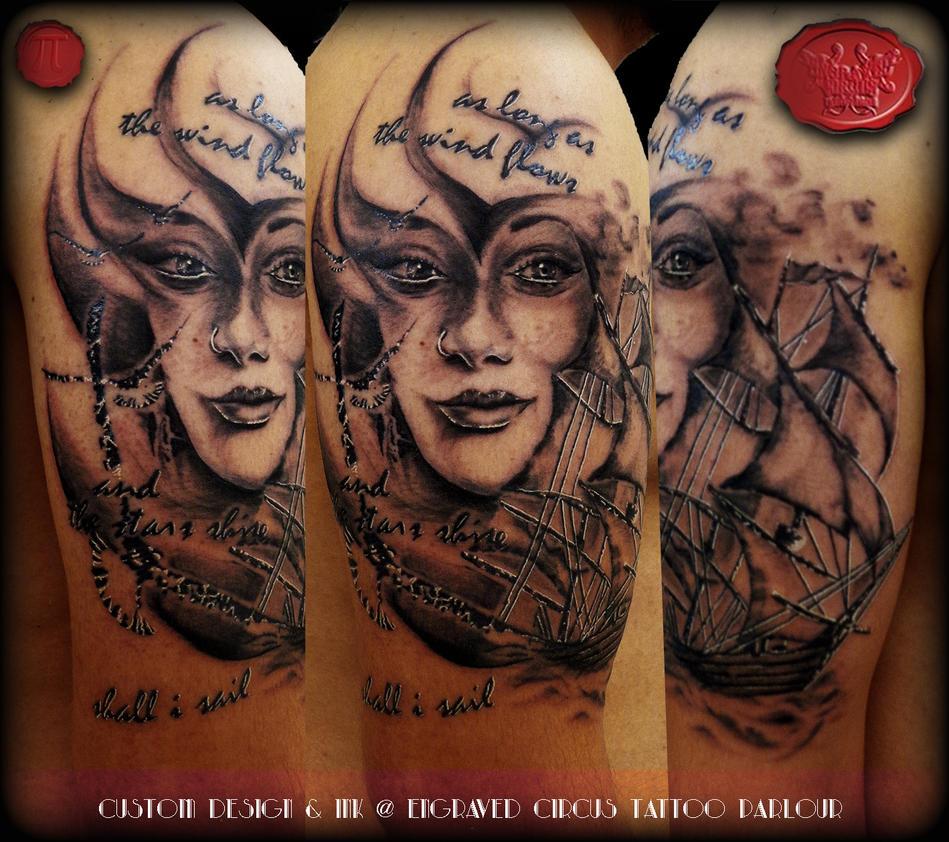 as long as... ship girl custom design ..tattoo by loop1974
