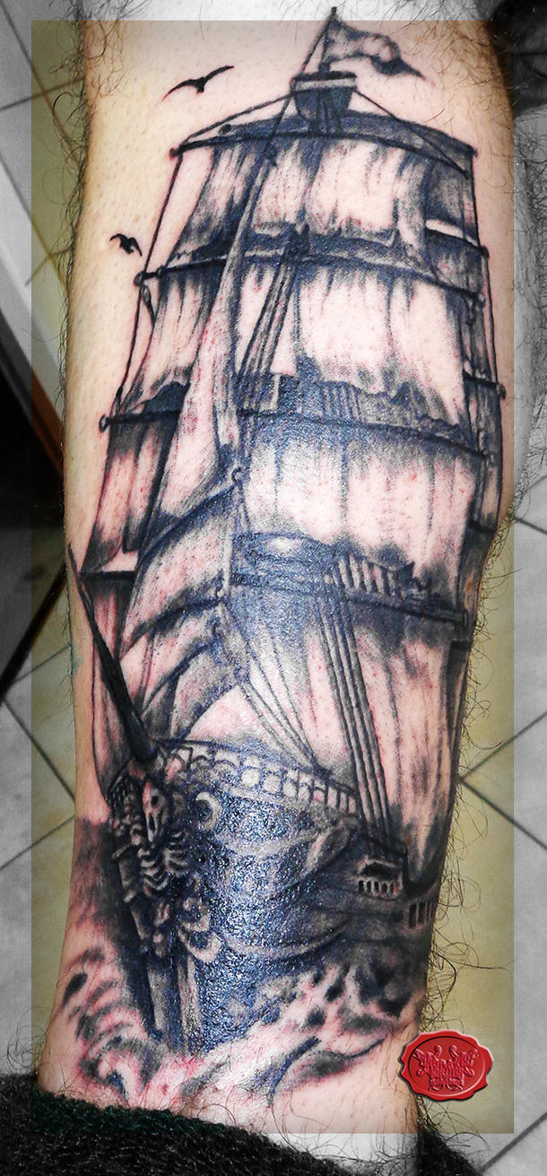 pirate ship tattoo by loop1974