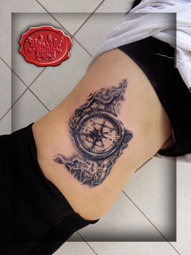compass and map tattoo by loop1974
