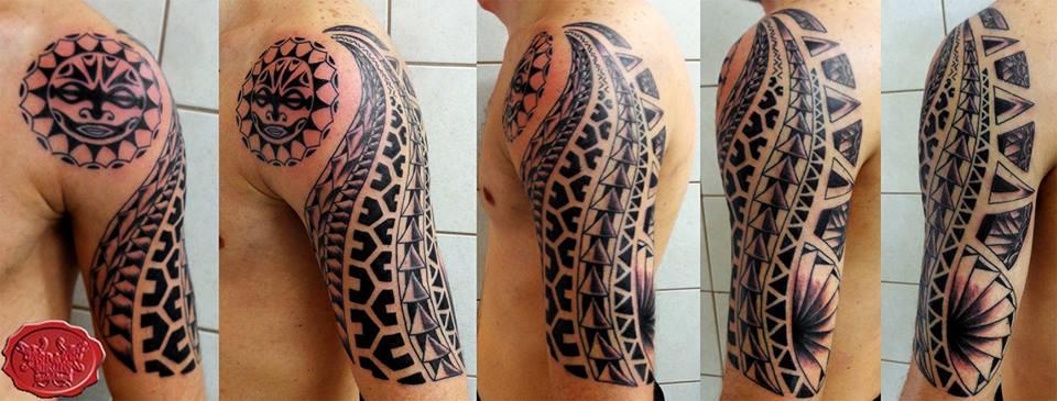 fb549bd598490 Polynesian half sleeve tattoo with a twist.. by loop1974 on DeviantArt