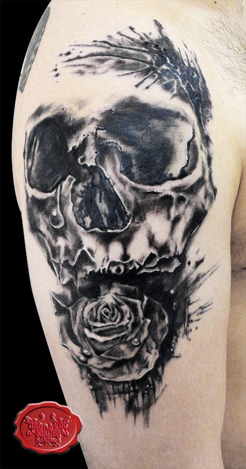 Skull rose tattoo by loop1974