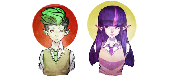 Twilight sparkle and Spike by Yunni-Universe