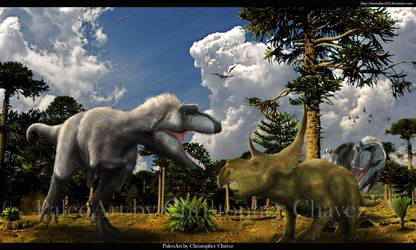 Lythronax vs Diabloceratops by Christopher252