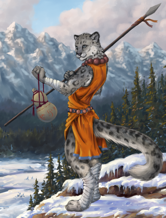 Tabaxi Monk By Choedan Kal On Deviantart Snow leopards have white or grey fur with black spots and rosettes. tabaxi monk by choedan kal on deviantart