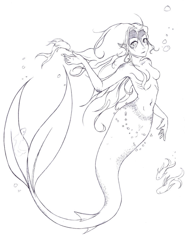 Line Drawing Mermaid : Mermaid lineart by bleachobsessed on deviantart