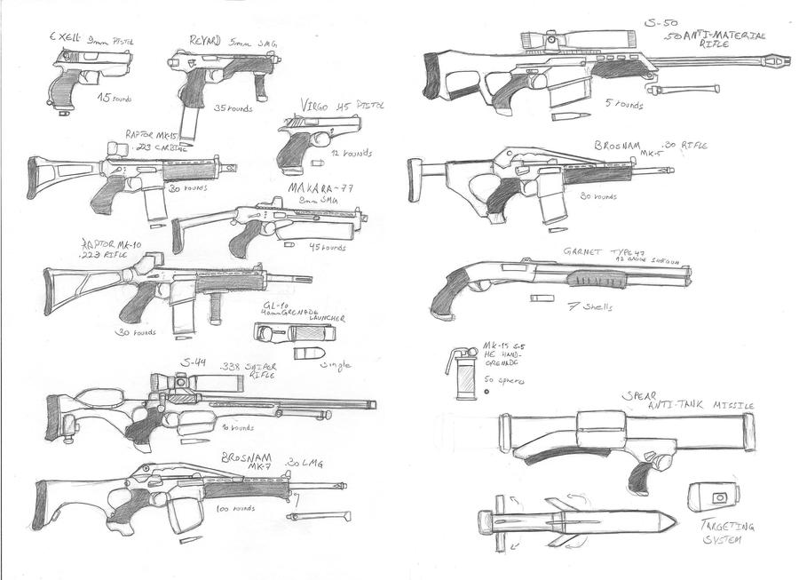 Weapons sketch by Rafafa