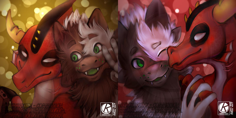 icon couple dragons by kraxtax