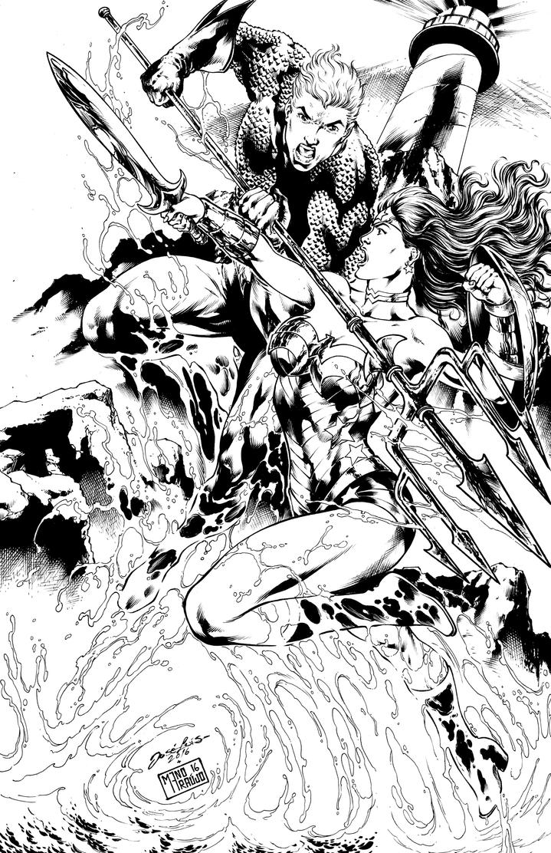 Commission Aquaman vs Wonder  Woman by ManoAraujo