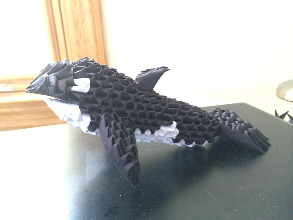 3D Origami Killer Whale Side View By Joeseares96