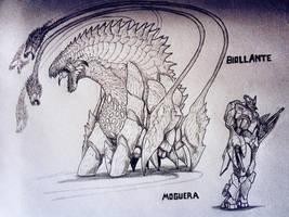 the monsters of GODZILLA: Destroyer of Worlds by TheGreatestLoverArt