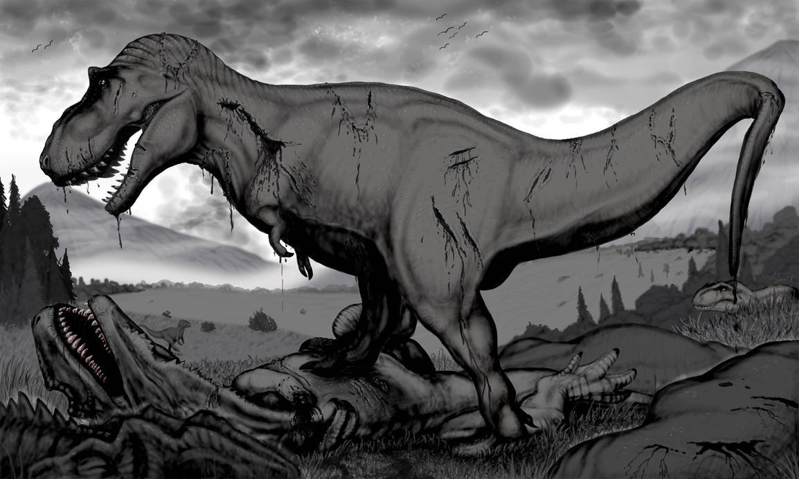 The Isle: T-Rex V Gigas by TheGreatestLoverArt
