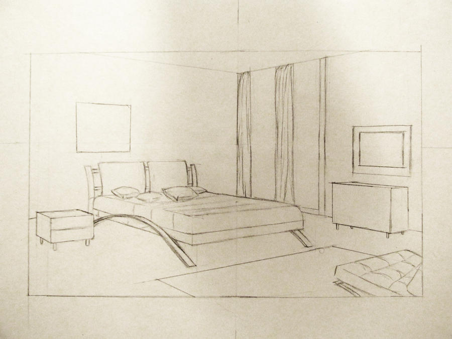 Perspective study 2 bedroom in 2 point by endurakseethe for Bedroom 2 point perspective