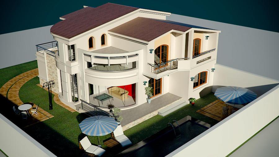 Exterior villa by uticlive on deviantart for Plan architecture villa tunisie