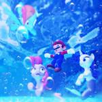 Mario meets 3 MerPonies