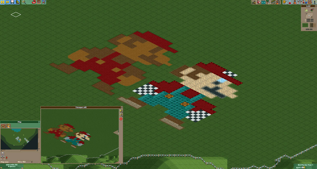 Roller Coaster Tycoon 2 Ground Build - 8-bit Mario by IceLucario20xx