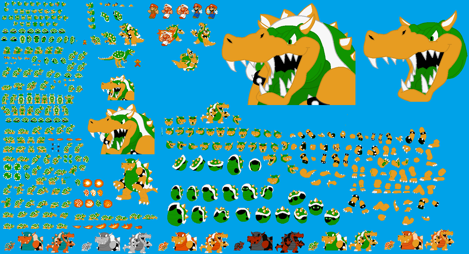 NES (SMB1) Bowser Sprite Sheet by icelucario20xx -- Fur