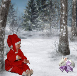 Little Santa and the bunny by Angvil