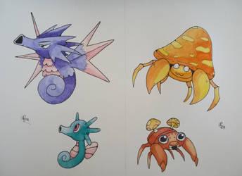 Seahorses and mushrooms