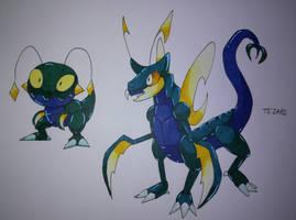 Bug/Dragon fakemons : ??? and Ts'Zard