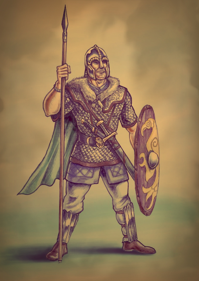Anglo Saxon Warrior, 7th Century AD by Popius