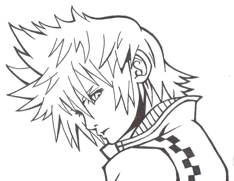 Kingdom Hearts Lineart : Roxas line art xd by birdman on deviantart