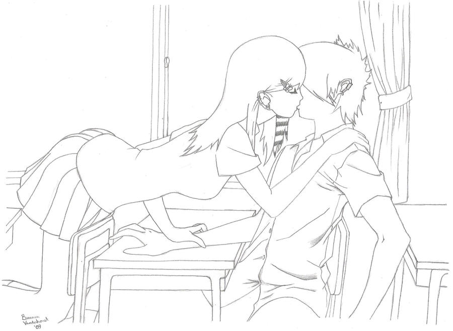 scene girl coloring pages - emo anime love kiss