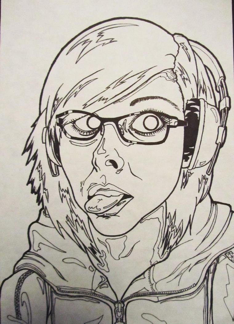 Contour Line Drawing Self Portrait : Contour self portrait by indigoimagery on deviantart