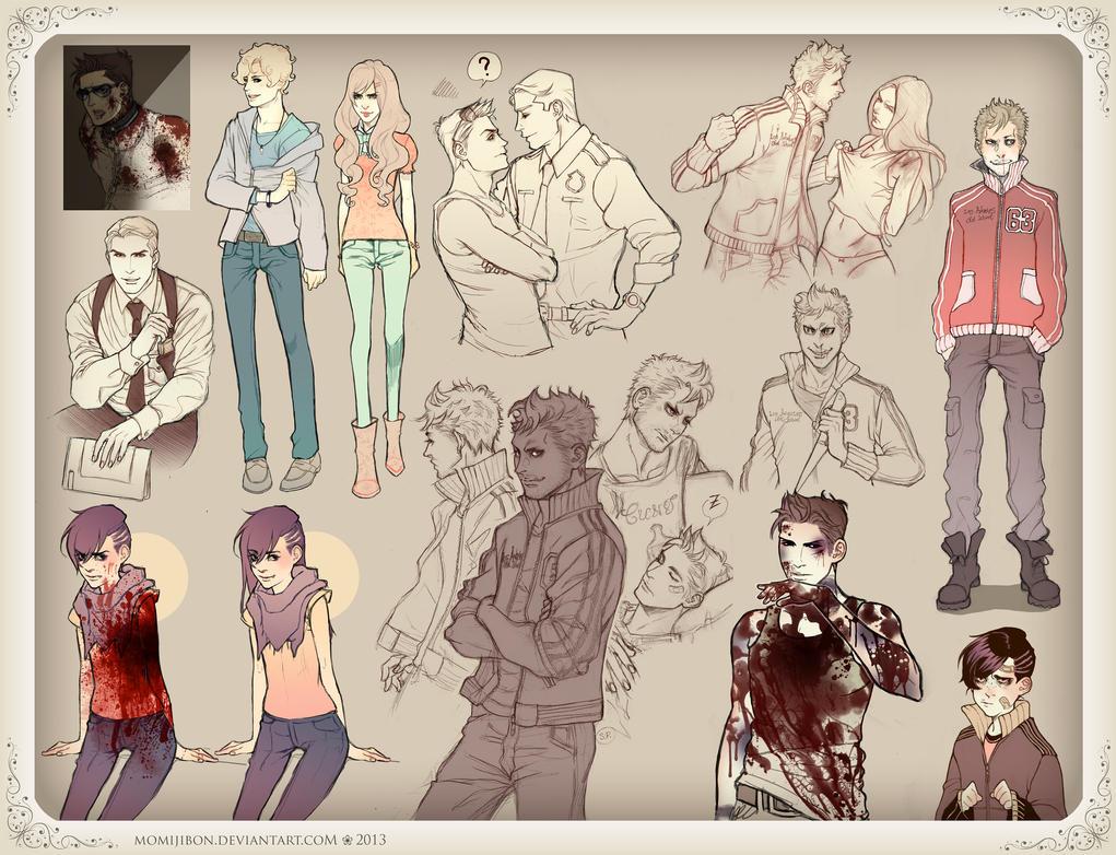 OCs Sketchdump by momijiBon