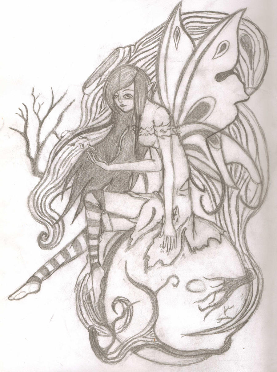 Dark fairy pencil sketch by Lfangirl46 on DeviantArt