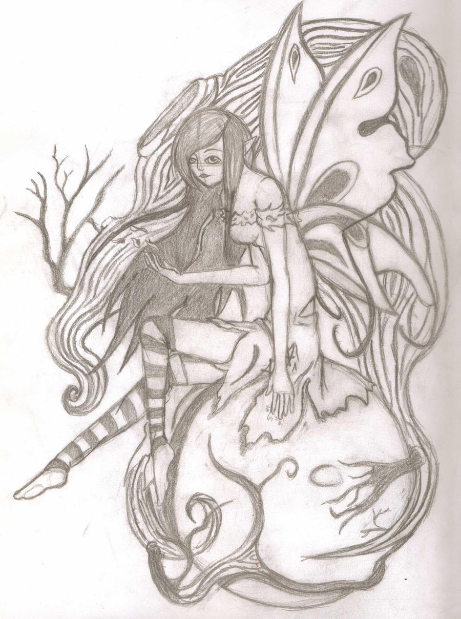 Dark fairy pencil sketch by Lfangirl46 on DeviantArt