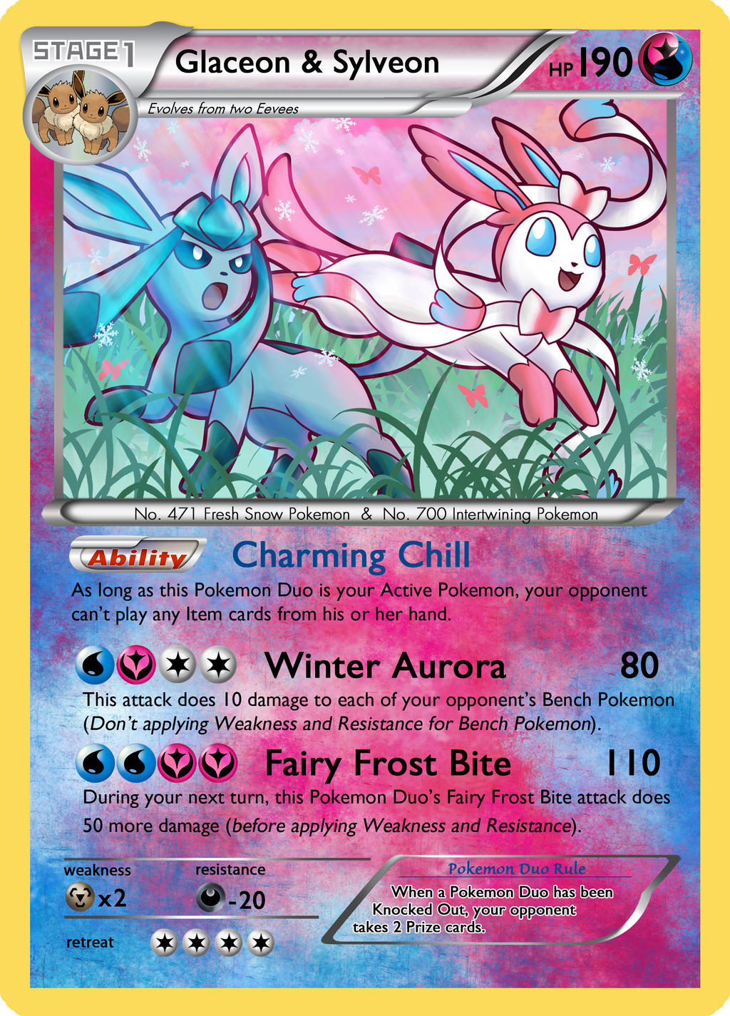 Glaceon And Sylveon Duo Card By Mr Savath Bunny On Deviantart