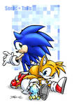 Sonic, Tails and a Chao.