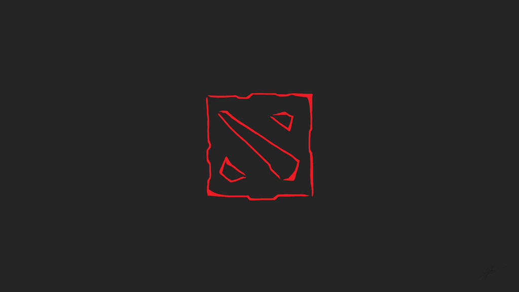 Dota2 - Minimalist Brush Logo Wallpaper by IsLyfProcrastination
